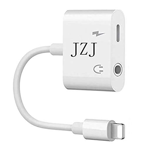 JZJ 2 in 1 Adapter to Charger and Aux Earphones Stereo Jack Dual Headphone Audio & Charge Adapter-White