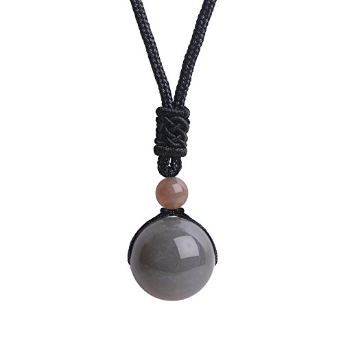 iSTONE Unisex Genuine Round Gemstone Beads Pendant Necklace Black Rope Chain 25 inch (Indian Agate)