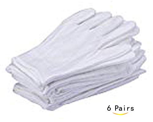 CTKcom 6 Pairs White Soft 100% Cotton Gloves,Large Size for Work/Lining Glove,Coin Jewelry Silver Inspection Gloves(6 Pairs) -