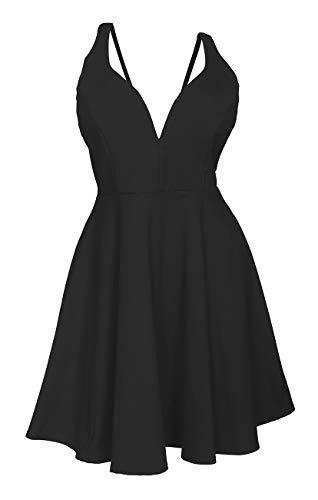 eVogues Plus Size Pleated Bodice Sleeveless Flare Dress Black 19618-1X