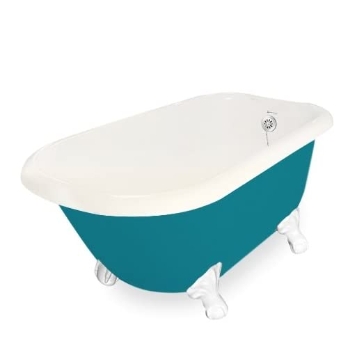 American Bath Factory T050A-WH-BP & DM-7 Trinity 60 in. Bisque Acrastone Tub & Drain44; White Metal Finish44; Small chic