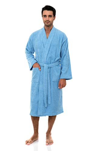 Striped Mens Robe - TowelSelections Men's Robe, Turkish Cotton Terry Kimono Bathrobe Medium/Large Blue Grotto
