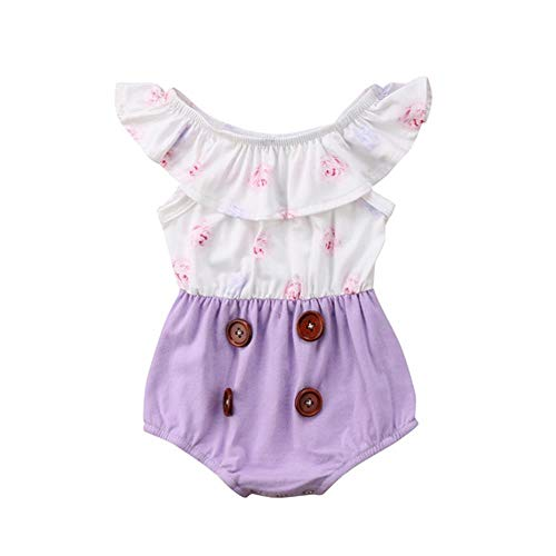 - Baby Girls Romper Flower Ruffles Sleeve Jumpsuit Bodysuit Onesies Sunsuit Outfits Set Summer Clothes (Purple, 6-12months)
