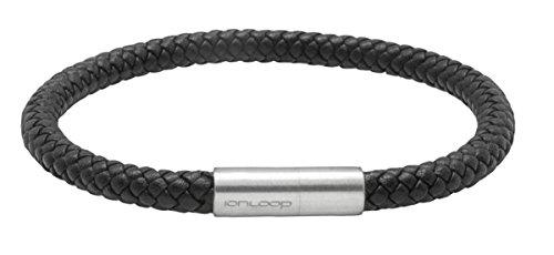 Ion Loop Braided Leather Bracelet (Black, Med 19 cm 7.5