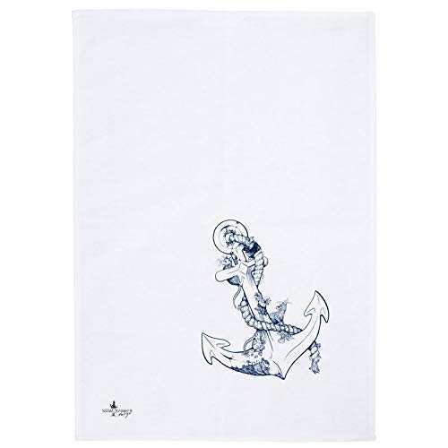 Handmade Designer Geschirrtuch - Anker - 50x70 cm Halbleinen - Handsiebdruck aus eigenem Atelier | Schatzkammer Design