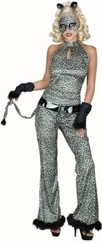 Adult Leopard Cat Suit Costume (Size:6-8)