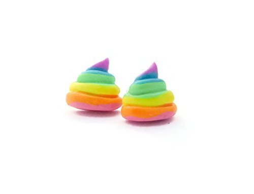 Unicorn Poop Rainbow Stud Earrings with Sterling Silver Posts for Sensitive Ears -