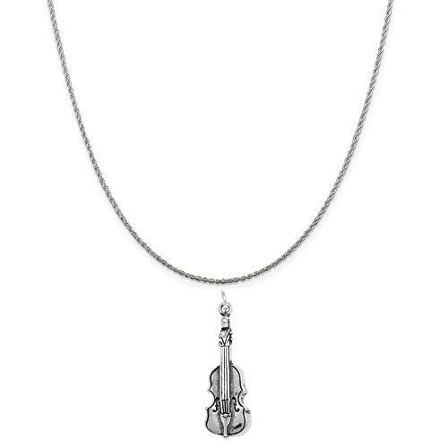 Raposa Elegance Sterling Silver Violin Fiddle Charm on a Sterling Silver 18