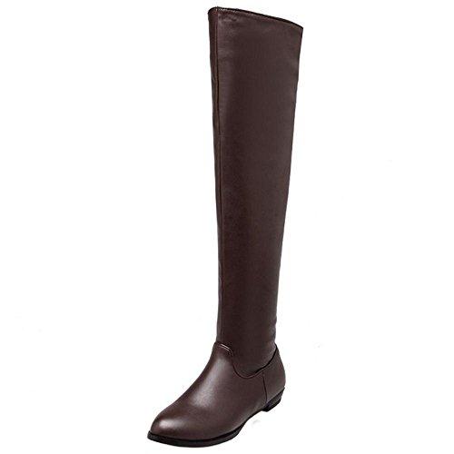 COOLCEPT Damen Mode OverKnee Stiefel Flach Half Zipper Brown