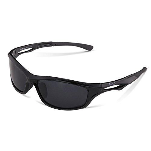 Duco Polarisierte Sport-Sonnenbrille für Rennen Radfahren Angeln Golf TR90 Unbreakable Rahmen 6199 Schwarz Rahmen Graue Linse