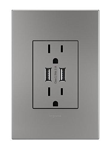 Legrand Adorne ARTRUSB153M4 Dual USB, Plus-size Combo Outlet, Magnesium by Legrand (Image #1)