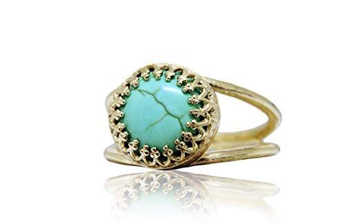 Anemone Jewelry AA Turquoise 14K Gold Ring - Elegant Gold Turquoise Ring For Casual & Everyday Use - Handcrafted By Professional & Skilled Artisans - Handcrafted Turquoise Ring