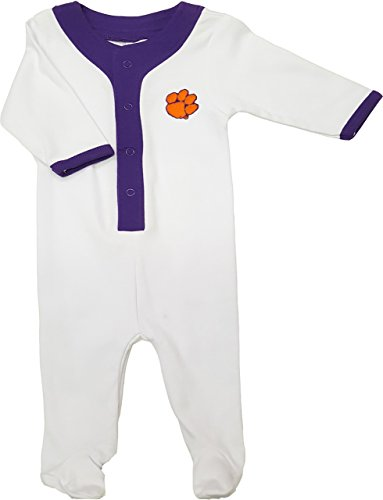 Future Tailgater Clemson Tigers Baby Athletic Sleeper Playsuit - Purple