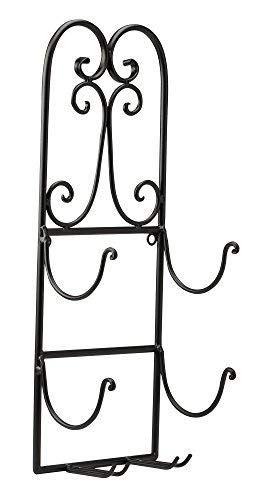 The Paragon Metal Wine Rack - Hanging Wine Wall Decor, 2 Bottle Wine Storage with Glass Holders