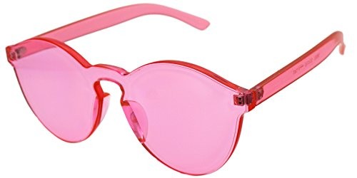 J&L Glasses Transparent Rimless Ultra-Bold Candy Color sunglasses (Pink, - Plastic Pink Sunglasses