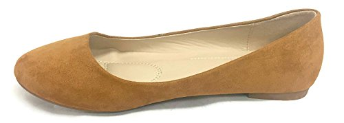 Bella Marie Stacy-12 Damen Runde Zehe Slip On Ballett Flache Schuhe Bräunen