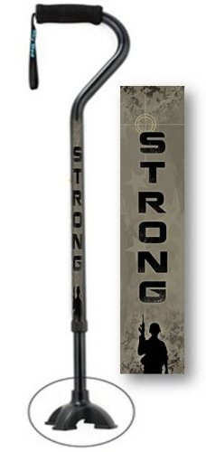 Adjustable Walking Cane with Footed Cane Tip U.S. Army Strong