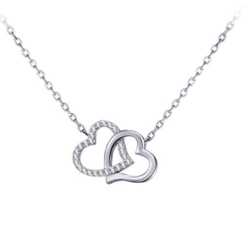 Fonsalette Double Heart Necklace for Women Cubic Zirconia Diamond Necklace for Girls Two Circles Interlocking Necklace Sterling Silver Necklace (Silver)