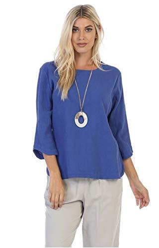 Crinkled Gauze Tunic - Focus Fashion Women's 100% Cotton Crinkle Gauze 3/4 Sleeve Tunic Top-CG114 (Small, Violet)