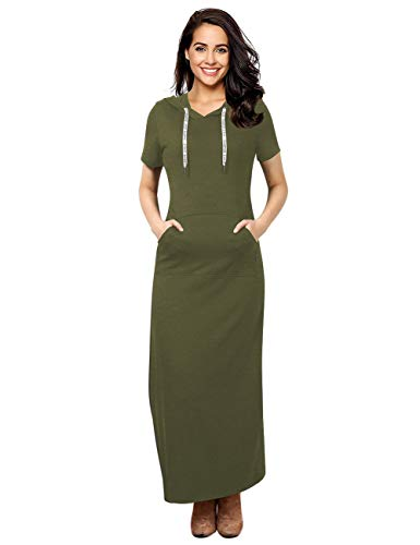 GloryStar Women Long Sleeve Pullover Stripe Pocket Slim Sweatshirt Casual Hoodie Dress Hooded Sweater Dresses (M, Army Green-1) (Sweater Drawstring Hooded)