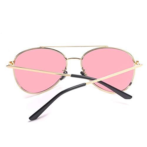 de Gafas Pink de Gafas de Black retrovisor Lens Hombre Color Lente Mujer Lens Frame Sol de Espejo Sakuldes Gold UV400 clásicos Gray y Frame Sol v7wxF7qgz