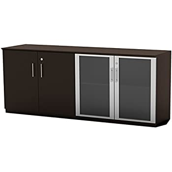 mayline mvlcldc medina low wall cabinet with 2 wood and 2 glass doors mocha. Black Bedroom Furniture Sets. Home Design Ideas