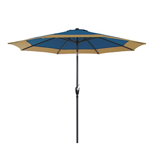 9 Feet Aluminum Patio Umbrella Outdoor Market Umbrella with Push Button Tilt Smooth Crank Beige/Blue