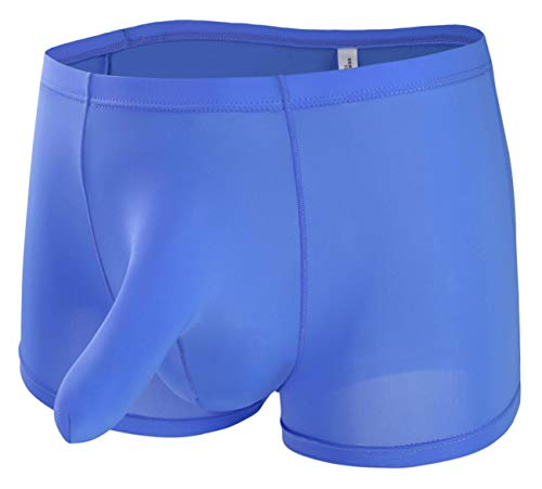 NIDREON Mens Ice Silk Elephant Nose Trunk Boxer Underwear Blue L