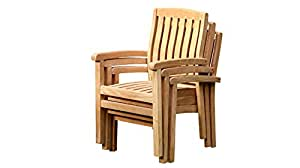 Acacia Marley Stacking Wide Slat Arm Chair- Brown