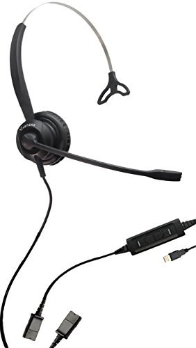 XS 820 USB Headset for PC, MAC and USB Telephones | Quick-Disconnect Cable included | Connects to Headset to PC, MAC, Lync, Skype & USB VoiP Phones | Mute, Volume and Answer buttons from Global Teck Worldwide