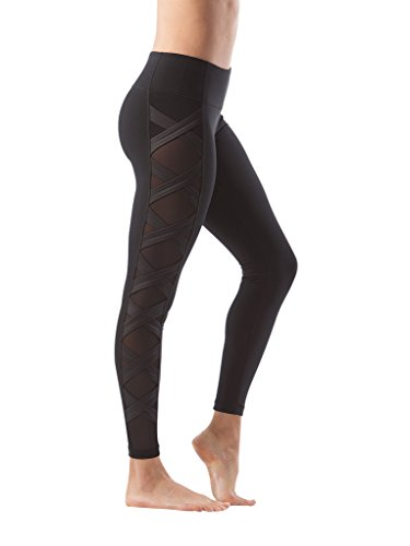 90 Degree By Reflex Women's High Fashion Criss Cross Workout Leggings Sheer Mesh Panels