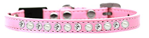 Mirage Pet Products 625-3 LV10 Pearl and Clear Jewel Breakaway Cat Collar Light Pink, Size 10