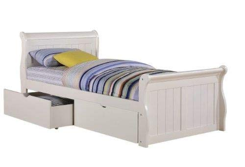 - Donco Kids 325-TW_505-W Sleigh Bed with Dual Underbed Drawers, Twin, White
