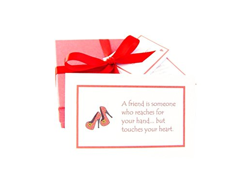 'Best of Friends' handmade friendship gift: 52 quote cards all about the joy & value of friendship, gift boxed & personalized with a poem & mini chocolate balls. Fab birthday / Christmas / new home / Thank you / friendship gift for your BFF! (High heeled shoe design)