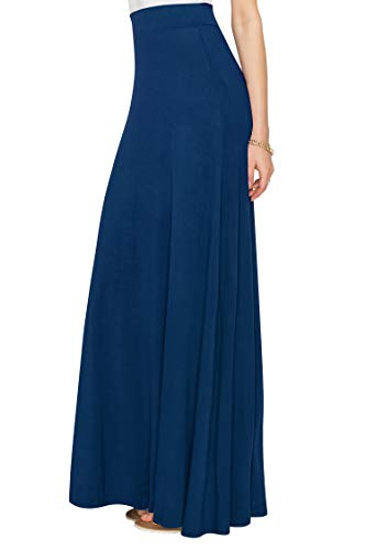 WDR1434 Womens Solid Maxi Skirt with Elastic Waist Band XXXL NAVY