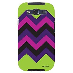 Cool Painting Chevron Pattern Lime Green, Pink ; Purple HIPSTER Unique Quality Soft Rubber Case for Samsung Galaxy S4 I9500 - White Case
