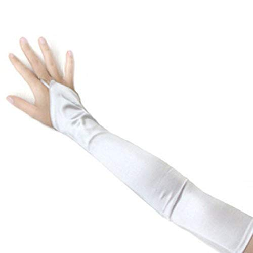 - SACAS Long Fingerless Satin Gloves in White One Size
