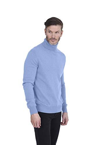 Cashmeren Men's 100% Pure Cashmere Turtleneck Long Sleeve Pullover Sweater (Baby Blue, -