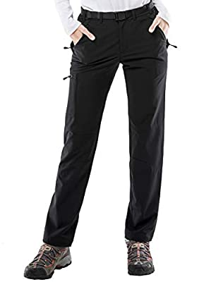 MIER Women's Stretch Cargo Hiking Pants Lightweight Tactical Pants with YKK Zipper Pockets, Black
