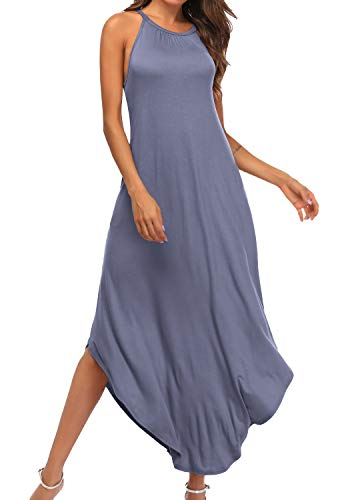 YiNai Women Pocket Casual Summer Sleeveless Halter Pocket Maxi Dress Gray Blue M