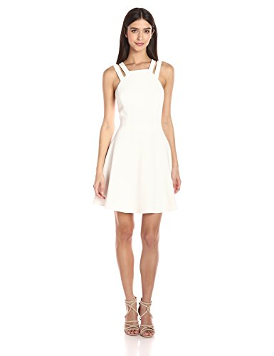 French Connection Women's Whisper Light Sleeveless Strappy Stretch Mini Dress, Summer White Double, 2 by French Connection