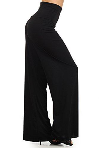Fashiondio Women's Must Have Trendy Long Palazzo Pants (Large, BLACK SOLID) Capri Business
