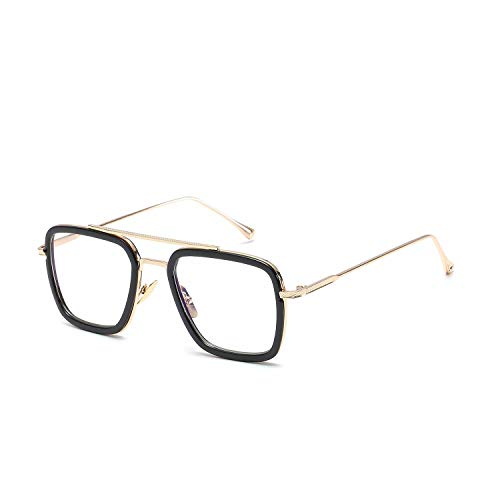LianSan Retro Square Eye Glasses Aviator Metal Frame for Men Women no prescription Eyeglasses Downey Iron Man Tony Stark 66218 Clear ()