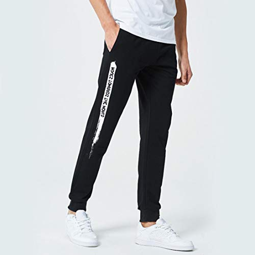 Realdo Clearance Mens Casual Slim Personality Solid Elastic Letter Sports Run Jogger Pants Trousers(X-Large,Black) by Realdo (Image #1)