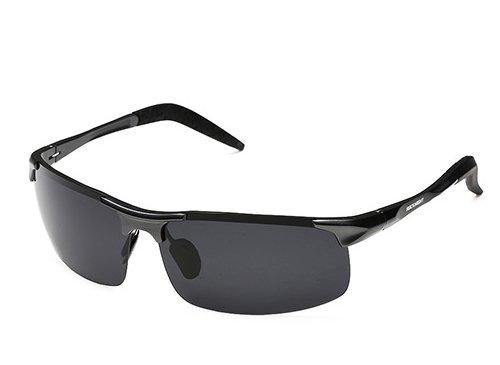 ROCKNIGHT Polarized Rimless Rectangular Lightweight UV Protection Wayfarer Black Lens Shades Driving Sunglasses - Rectangle Rimless Sunglasses