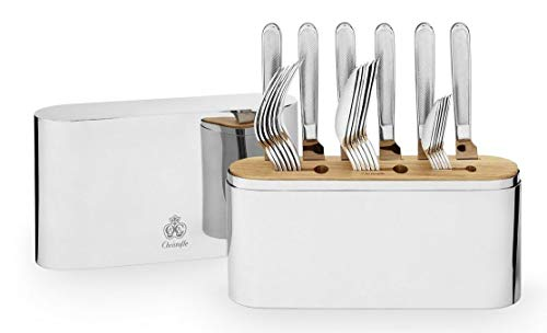 - Concord by Christofle France Stainless Steel 24-pc Flatware Set with Case New