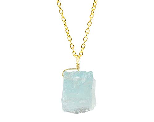 - Raw Aquamarine Crystal Pendant Necklace Natural Rough Gemstone Handmade Dainty Jewelry 14K Gold Filled 925 Sterling Silver Chain 18
