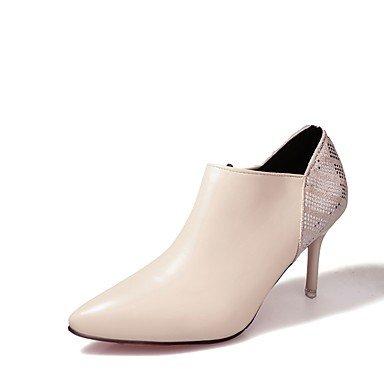 RTRY Zapatos De Mujer Otoño Pu Botas Botas De Combate Stiletto Talón Señaló La Convergencia Casual De Cremallera Negro Beige Rojo US6 / EU36 / UK4 / CN36