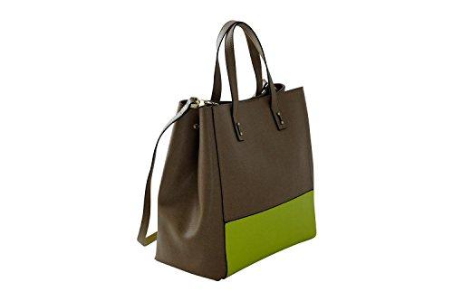 COCCINELLE Handtasche, Henkeltasche/Schultertasche in Sepiabraun mit gelben Akzenten