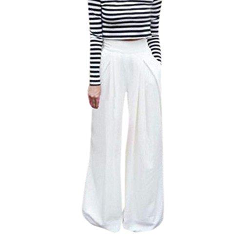 Chic Pants Donna Tempo Pantaloni Mieuid Baggy Leggero Pantaloni Lunghe Monocromo Cute Vita Mare Comodo Elastica Pantalone Estivi Elegante Libero Bianca apxTqwBfd